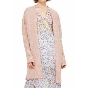 Topshop Pink Puff Sleeve Long Cardigan